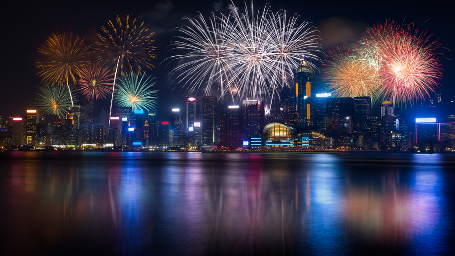 Night view and fireworks at victoria harbour, Hong KongFireworks at victoria harbour hong kong