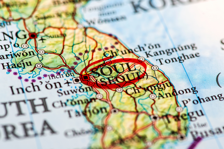 Seoul marked on map with red marker